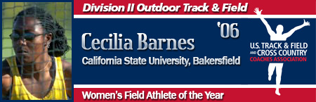 Cecilia Barnes, Women's Outdoor Field Athlete of the Year