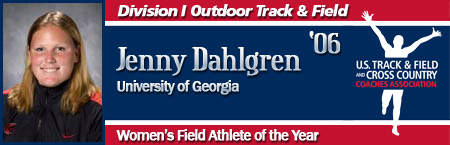 Jennifer Dahlgren, Women's Outdoor Field Athlete of the Year