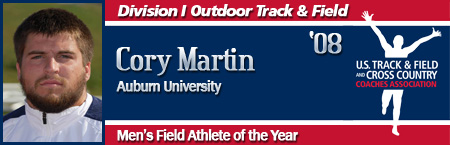 Cory Martin, Men's Outdoor Field Athlete of the Year