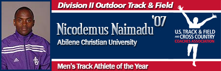Nicodemus Naimadu, Men's Outdoor Track Athlete of the Year