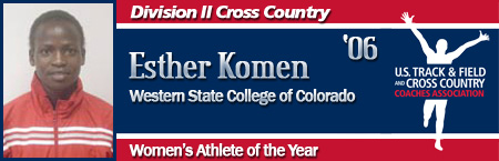Esther Komen, Women's Cross Country Athlete of the Year