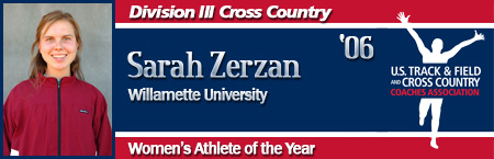Sarah Zerzan, Women's Cross Country Athlete of the Year