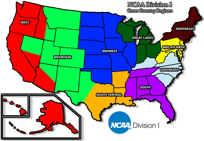 USTFCCCA InfoZone Regional Championship Central NCAA - Map of us showing division one universities
