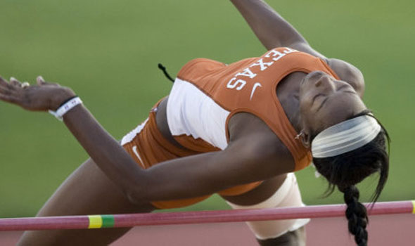 Texas' Destinee Hooker Sets Meet Record in the High Jump at Houston