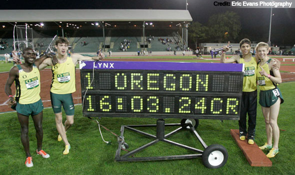 Oregon Men Break Collegiate, Hayward Field Record in 4xMile Relay