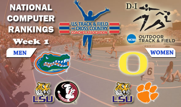 DI Outdoor Track & Field Team Rankings Update — Week 1, April 3