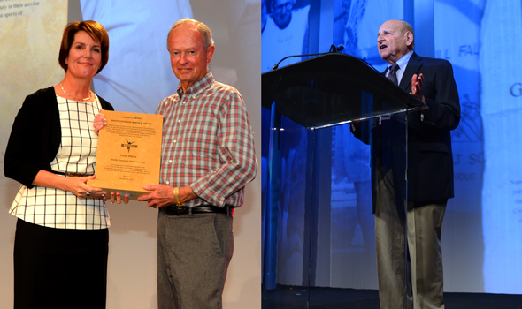 Dean Hayes, Bill Falk Honored with Service Awards at USTFCCCA Convention