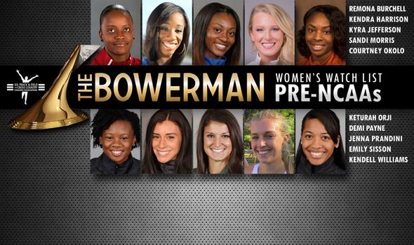 Harrison, Jefferson & Sisson Join Pre-NCAAs Edition of The Bowerman Women's Watch List