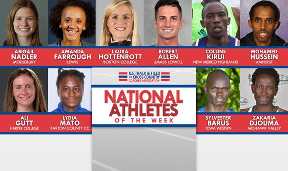 NCAA & NJCAA National Athletes of the Week (Oct. 12)