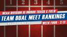 NCAA DIII Indoor Team Dual Meet Rankings – February 9