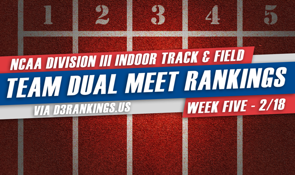 NCAA DIII Indoor Team Dual Meet Rankings – February 18